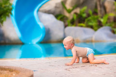 Little baby at swimming pool Royalty Free Stock Photos