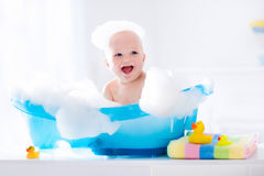 Free Little Baby Taking A Bath Royalty Free Stock Photo - 70461935