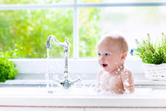 Little baby taking bath Royalty Free Stock Images