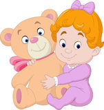 Little baby with teddy bear Royalty Free Stock Image