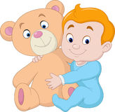 Little baby with teddy bear Stock Photo