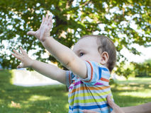 Little baby tent hands up. Royalty Free Stock Images