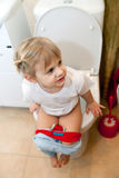 Little baby  on   toilet Royalty Free Stock Photography