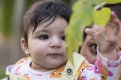 Little baby is touching new spring leaves in her mothers hug. Little baby is touching new spring leaves in her mother`s hug, outdoor area Royalty Free Stock Image