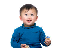 Little baby with toy block Stock Image