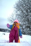 Little Baby by Toy Spade in Winter Royalty Free Stock Photos