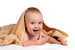 Little baby under towel Royalty Free Stock Images