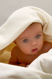 Little baby under a white blanket Stock Photo