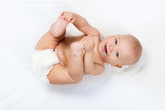 Little baby wearing a diaper Royalty Free Stock Photos