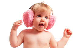 Little baby wearing warm headphones Royalty Free Stock Images