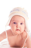 Little baby wearing warm wool hat. Stock Photos