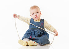 Little baby  on a white Stock Images