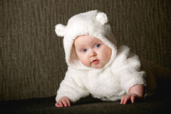 Little baby in white bear costume Royalty Free Stock Photography