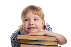 Little Baby With Books Isolated Stock Photography