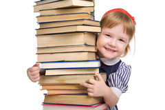 Little Baby With Books Isolated Royalty Free Stock Photo
