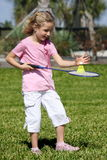 Little badminton player Stock Image