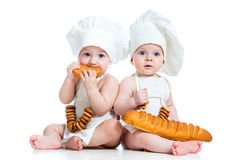 Children kids boy and girl eating Royalty Free Stock Images