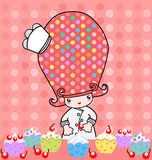 Little Bakery cupcake. Illustration of little cute girl with cupcake Stock Images