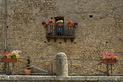 Little balcony with flowers Stock Photos
