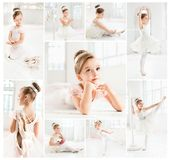 The little balerina in white tutu in class at the ballet school Royalty Free Stock Images