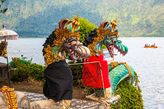Little Balinese Ulun Danau temple on lake Bratan Royalty Free Stock Image