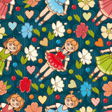Little Ballerina and Flower. Cartoon style. Seamless pattern. Baby Doll. Stock Image