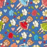 Little Ballerina and Flower. Cartoon style. Seamless pattern. Baby Doll. Stock Images