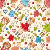 Little Ballerina and Flower. Cartoon style. Seamless pattern. Baby Doll. Stock Photo