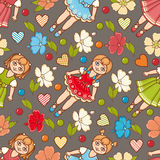 Little Ballerina and Flower. Cartoon style. Seamless pattern. Baby Doll. Royalty Free Stock Photo