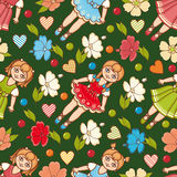 Little Ballerina and Flower. Cartoon style. Seamless pattern. Baby Doll. Royalty Free Stock Image
