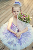 Little ballerina with flowers Royalty Free Stock Images