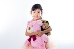 A little ballerina with her bears Royalty Free Stock Images