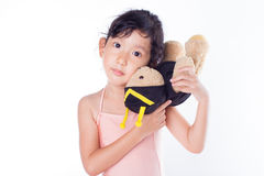 A little ballerina with her bears Royalty Free Stock Image