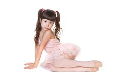 Little ballerina. Isolated on white background Royalty Free Stock Photography