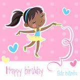 Little ballerina party - Happy birthday stock illustration