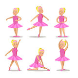 Little Ballerina in Pink Dress Cartoon Characters Set Royalty Free Stock Photo