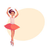 Little ballerina in pink tutu standing on toes hands up Royalty Free Stock Photo