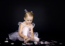 A Little Ballerina and slipper Stock Photo