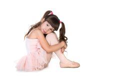 Little ballerina. On white background Royalty Free Stock Photography