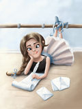 Little ballerina who writes letters on the floor Royalty Free Stock Images