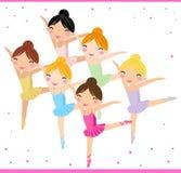 Little Ballerinas. Illustration of six little Ballerinas Stock Images