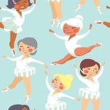 Little  ballerinas. Little girls ballerinas dancing cartoon style seamless pattern Royalty Free Stock Images