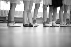 Little ballerinas legs standing in a row Stock Photo