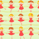 Little ballerinas seamless background. Colorful seamless background made of cute little ballerinas Stock Photo