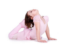 Little ballet dancer on white Stock Photo