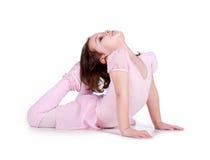 Little ballet dancer on white Stock Photo