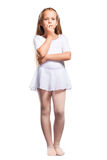 Little ballet dancer on a white Stock Photos