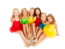 Little ballet dancers. Group of little funny ballet dancers stock photo
