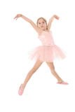 Little ballet girl in the air. Isolated on white Royalty Free Stock Photography