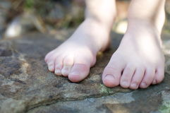 Little Bare Feet. A boy's little bare feet stand on a rock in Spring Stock Photography